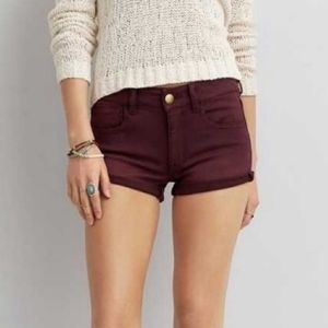 American Eagle Hi Rise Shortie Shorts Maroon Faded